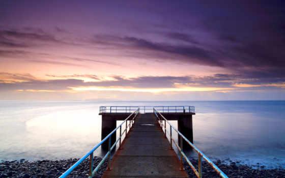 pier, море, рассвет, ocean, маяк, часть, темы, разные,