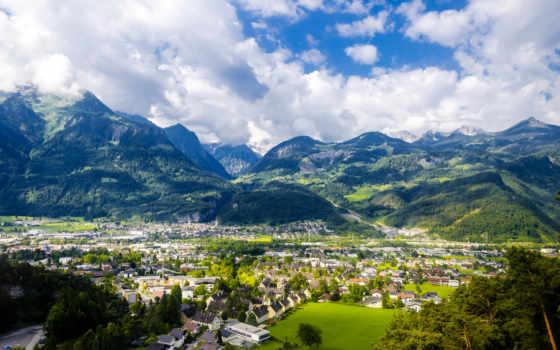 города, горы, mountains, панорама, muttersberg, взгляд, дома, австрия, сверху, austrian, landscape,