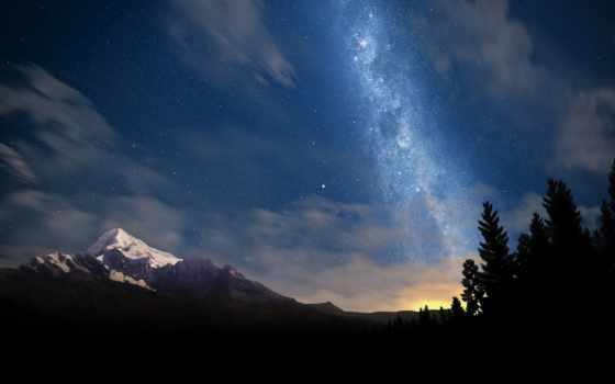 full, картинка, красивые, пейзажи -, горы, леса, ночь,