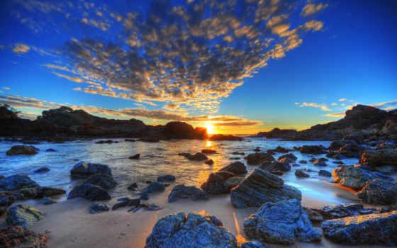 rising, солнца, море, камни, закат,