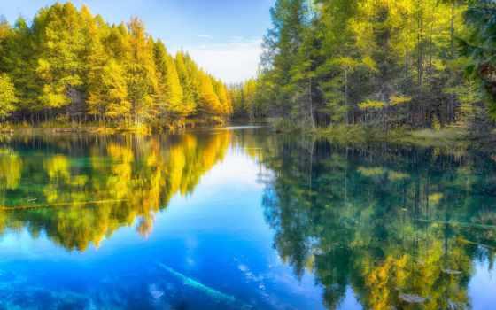 озеро, осень, природа, леса, осенние, дороги, trees, качественные,