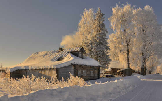 деревня, winter, настроение