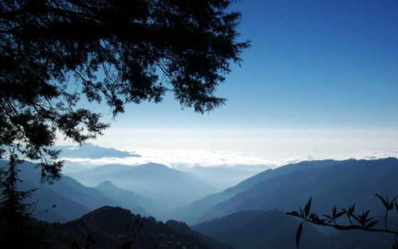 горы, among, утро