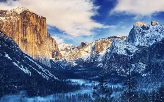 yosemite, park, national, долина, горы, winter, взгляд, лес, туннель, небо,
