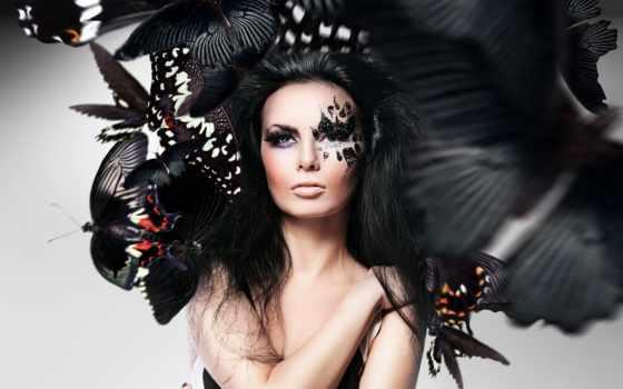 девушка, photoshop, лицо, макияж, бабочки,
