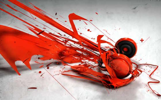 headphones, красные, краски, музыка, всплеске, смотреть, red, краска, креатив, стиль,