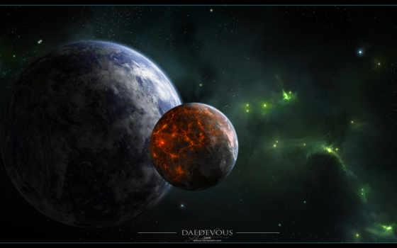 туманность, спутник, звезды, активность, планета, вулканическая, зелёная, картинка, планеты, картинку, мыши, кнопкой,
