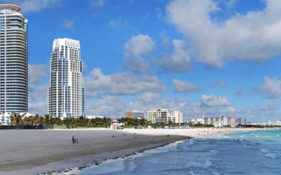 майами, пляж, океан, город, здания, картинка, städte, картинку, architektur, песок,