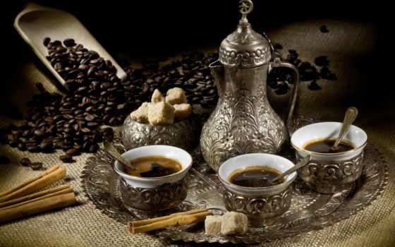 кофе, арабских, чашки, арабский, кухня, июня,