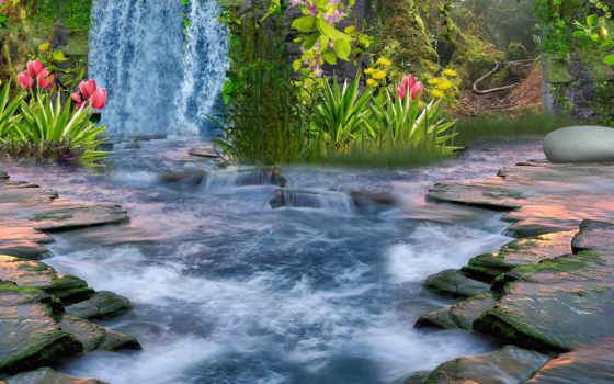 водопад, природа, landscape