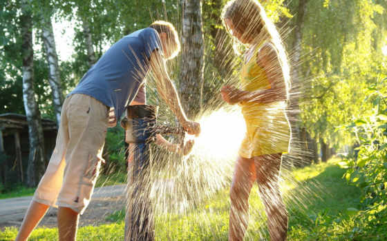 summer, children, настроение
