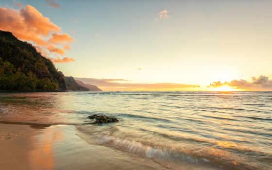 море, берег, вечер, закат, пляж, свет, риф, горизонт, спокойствие,