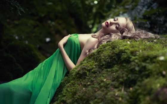 девушка, платье, лес, камень, мох, зеленом, макияж, devushki,