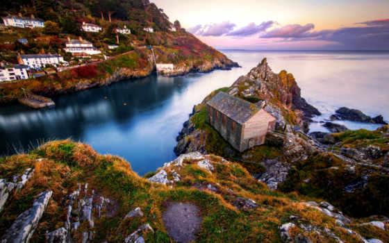красивые, landscape, скалы, море, европейские, самые, деревни, городки, берег, разное, valniko,