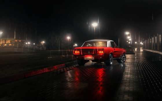 авто, ford, mustang, dark, дождь, автомобили, тротуар, ночные, улица, взгляд,