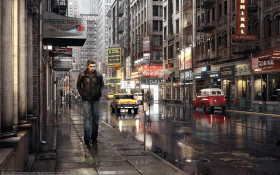 улица, город, машины, дорога, кая, dennis, парень, авто, высоком,