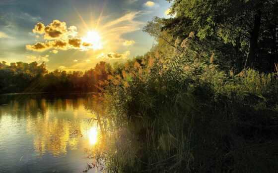 закат, календарь, река