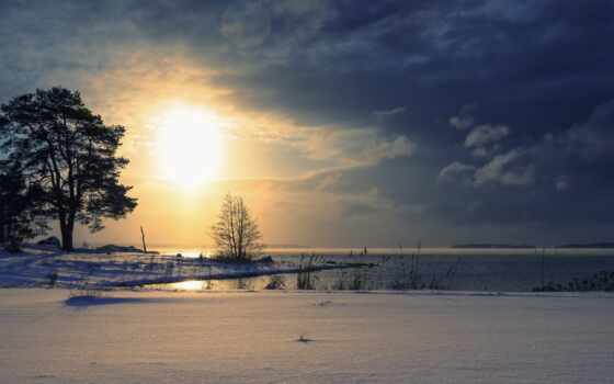 восход, закат, снег, дерево, облако, озеро, landscape, природа, отражение, небо