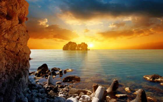 море, скалы, волны, взгляд, рассвет, пляж, тучи, свет,