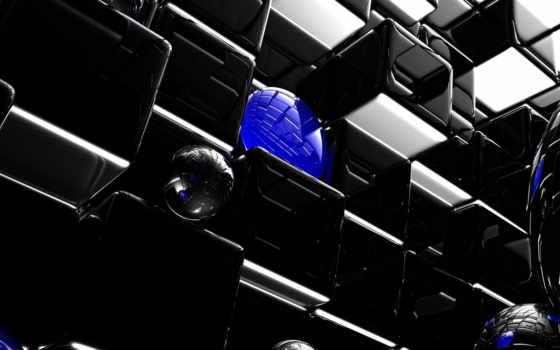 кубы, графика, шарики, кубики, rendering, черные, нов, синие,