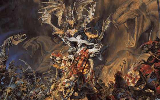 скелеты, войны, битва, лошадь,
