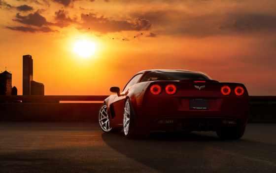 авто, машины, тюнинг, закат, chevrolet, автомобили, небо, corvette,