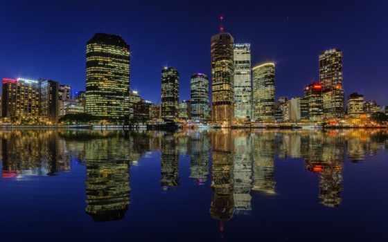 австралия, brisbane, ночь, город, огни, skyscrapers, отражение, река,