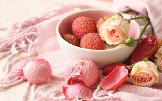 фрукты, личи, плод, роза, розы, relative, растет, рамбутана,