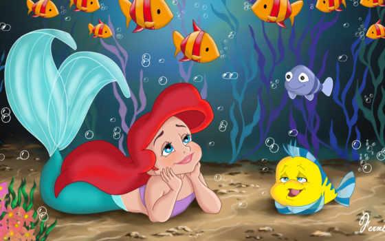 русалка, arielle, cartoon, маленькая, disney, принцесса, walt, детство, море, fish, очарование,
