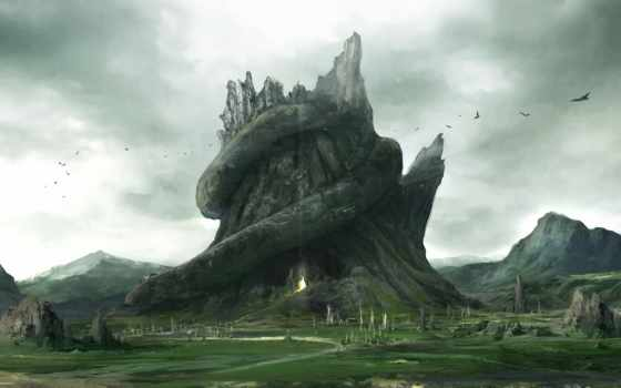 пещера, art, stump, trees, snake, птицы, дорога,