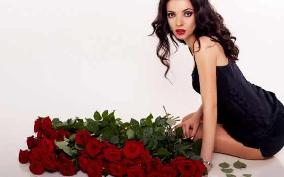 букетом, аватар, роз, красных, женщина, красивая, сидит, девушка, devushki, cvety, than,