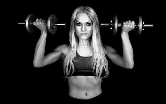 гантели, девушка, спорт, фитнес, sporty, blonde, молодой, женщина