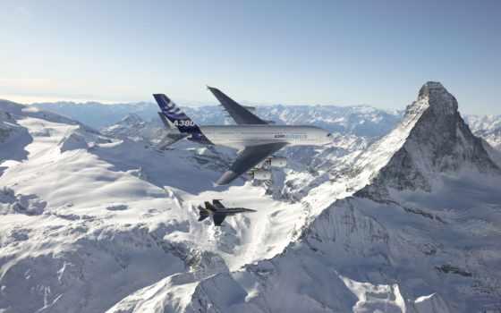 самолёт, горы, небо, пассажирский, hornet, авиация, аэробус, истребитель, авиалайнер, лайнер,