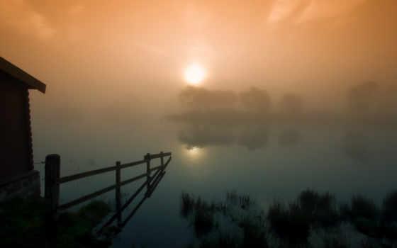 шотландия, morning, туман, закат, солнце, misty, foggy, desktop, download, ограда, озеро, сарай, sunrise, picture,