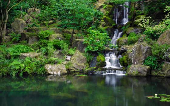 водопад, камни, garden