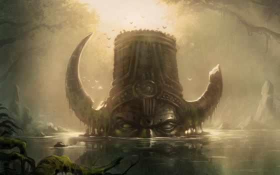 лес, fantasy, mysticism, swamp, разруха, обоях, trees,