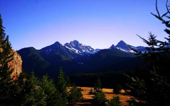 pine, лес, озеро, природа, покрыты, дек, diablo, красивые, качественные, холмы, травой,