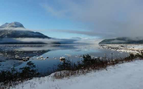 haida, gwaii, north, побережье, центральный, дымка, туман, природы, февр,