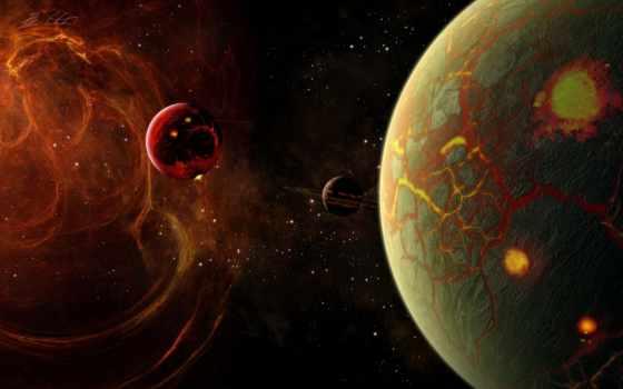 cosmos, планеты, трещины, огонь,