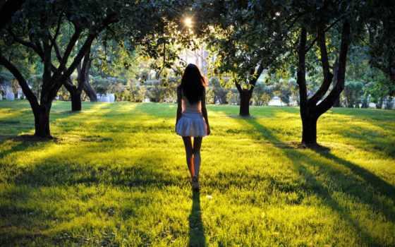 девушка, devushki, парке, вечернем, park, идущая, освещенному, парку, солнцем, summer,