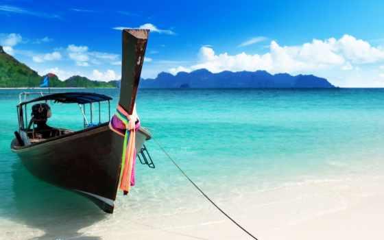 лодка, море, ocean, пляж, небо, azure, качестве, берег, высоком, базе,