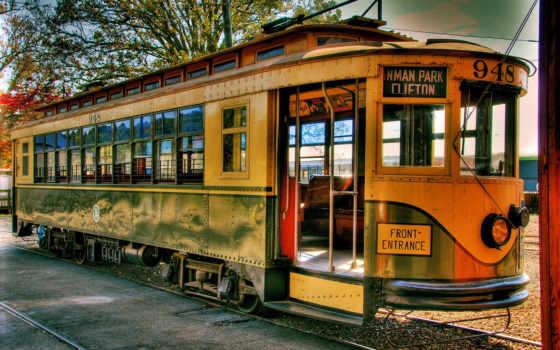 трамвай, ретро, рельсы, жд, город, ночь, картинка,