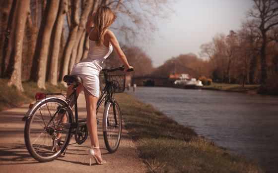 bike, women, река