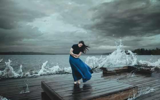 waves, девушка, ветер,