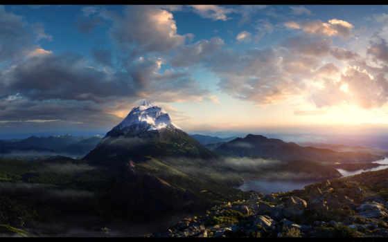 горы, природа, утро, горах, height,