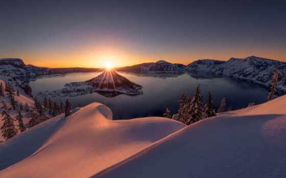 winter, qish, озеро, oregon, закат, снег, crater, season