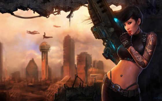 девушка, руины, стена, оружие, город, ke, wong, арт, проем, illustration, sci, красивые,