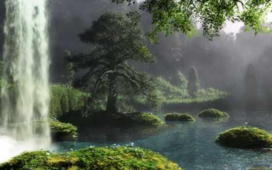 природа, art, река