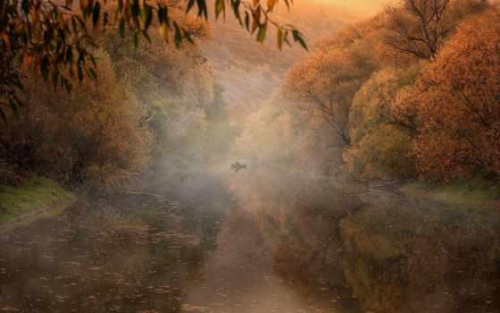 природа, река, осень