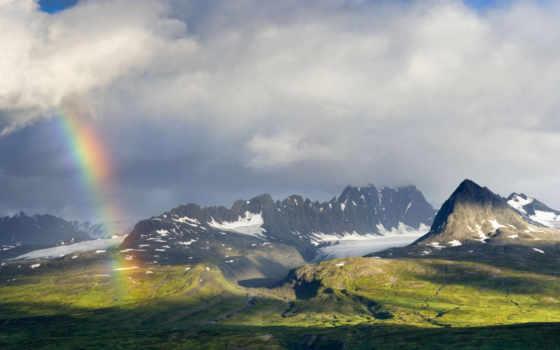 радуга, горы, после